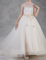 cheap -Ball Gown Sweep / Brush Train Flower Girl Dress - Polyester Sleeveless Jewel Neck with Crystals