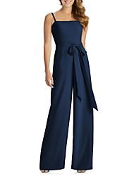 cheap -Jumpsuits Spaghetti Strap Floor Length Jersey Elegant Formal Evening Dress with Sash / Ribbon 2020