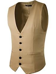 cheap -Men's Vest, Solid Colored V Neck Polyester Black / Navy Blue / Khaki