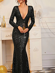 cheap -Sheath / Column Elegant Formal Evening Dress Plunging Neck Long Sleeve Floor Length Lace with Pleats Appliques 2020