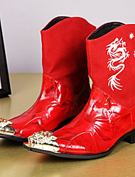 cheap -Men's Fashion Boots Nappa Leather Winter / Fall & Winter Vintage / British Boots Warm Knee High Boots Black / Red / Party & Evening