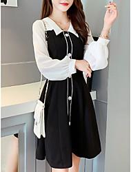 cheap -Women's Black Dress Basic Daily Wear Date A Line Color Block Shirt Collar S M