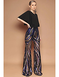 cheap -Women's Basic Wide Leg Pants - Multi Color Sequins Rainbow S M L