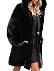 cheap -Women's Faux Fur Coat Regular Solid Colored Daily Black S M L XL