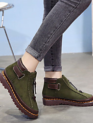 cheap -Women's Boots Flat Heel Round Toe Suede Booties / Ankle Boots Vintage / Casual Spring &  Fall / Fall & Winter Black / Green / Gray