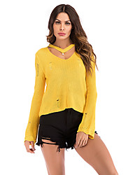 cheap -Women's Solid Colored Long Sleeve Pullover Sweater Jumper, V Neck Spring / Fall Black / White / Yellow M / L / XL