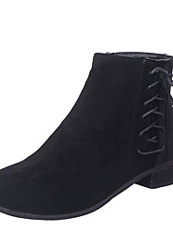cheap -Women's Boots Low Heel Round Toe Suede Booties / Ankle Boots Fall & Winter Black / Blue / Gray