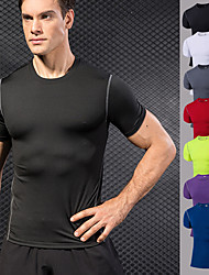 cheap -YUERLIAN Men's Compression Shirt Black Violet White Green Red Running Fitness Gym Workout Tee / T-shirt Base layer Short Sleeve Sport Activewear Breathable Moisture Wicking Quick Dry Power Flex High