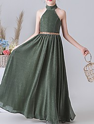 cheap -A-Line Floor Length Flower Girl Dress - Polyester Sleeveless High Neck with Splicing