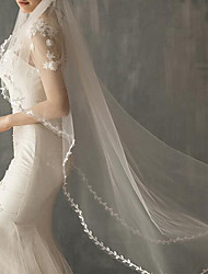 cheap -One-tier Classic Style / Lace Wedding Veil Fingertip Veils with Solid POLY / Lace