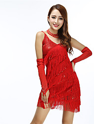 cheap -Women's Flapper Girl Latin Dance Flapper Dress Party Costume Tassel Flapper Costume Polyster Black Black+Sliver Almond Dress