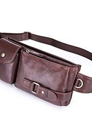 Недорогие -Муж. Молнии Воловья кожа Поясная сумка Сплошной цвет Черный / Коричневый