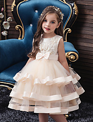 cheap -Kids Girls' Sweet Solid Colored Christmas Lace Beaded Layered Sleeveless Knee-length Dress Blushing Pink