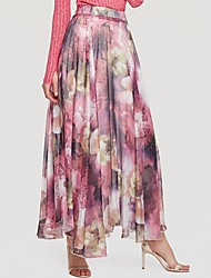 cheap -Women's Maxi Swing Skirts - Floral Chiffon Purple Blue Beige S M L