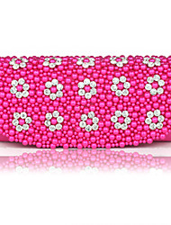 cheap -Women's Beading / Crystals Silk Evening Bag Solid Color Fuchsia