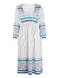 cheap -Women's Street Weekend Street chic Swing Dress - Polka Dot Plaid Solid Colored Patchwork Print Light Blue Blue Red S M L XL