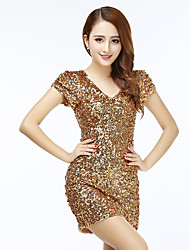 cheap -Women's Flapper Girl Latin Dance Flapper Dress Party Costume Sequins Flapper Costume Sequin Polyster Black Golden White Dress