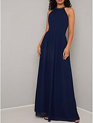 cheap -A-Line Halter Neck Floor Length Chiffon Elegant Prom Dress with Beading 2020