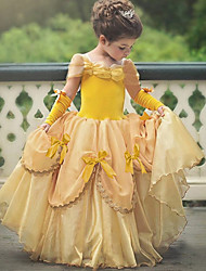 cheap -Princess Belle Vintage Dress Gloves Party Costume Flower Girl Dress Girls' Kid's Costume Sky Blue / Yellow / Lavender Vintage Cosplay Sleeveless