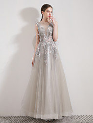 cheap -A-Line Boat Neck Floor Length Tulle Elegant Prom Dress with Sequin / Appliques / Feathers / Fur 2020
