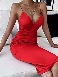cheap -Women's Sheath Dress Knee Length Dress Black Red Sleeveless Solid Color Summer Sexy Party Slim 2021 S M L / Satin