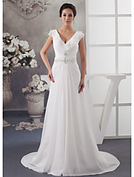 cheap -A-Line Wedding Dresses V Neck Court Train Chiffon Satin Spaghetti Strap with Ruched Beading Draping 2020