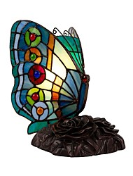 cheap -Tiffany Style Butterfly Stained Glass Accent Table Lamp Night Light Handmade Lampshade for Bedside Bedroom Living Room
