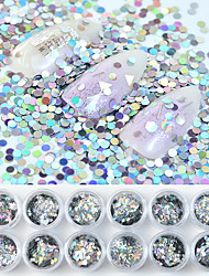 cheap -12 Box Silver Flakes Glitter Nail Sequins Mix Heart Round Maple leaf Snowflake Laser Sequins DIY Nail Art Beauty Manicure Decorations