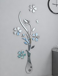 cheap -DIY Mirror Flower Vase 3D Crystal Acrylic Butterfly Stickers,Floral Vase Mirror Wall Decal for Entranceway Living Room Furniture Wall Deco