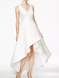 cheap -A-Line V Neck Asymmetrical Satin Dress with Ruffles / Pleats by LAN TING Express