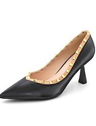 cheap -Women's Heels Flared Heel Pointed Toe Rivet Patent Leather Sweet / Minimalism Spring &  Fall Black / Nude