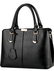 cheap -Women's Polyester / PU Top Handle Bag Leather Bags Solid Color Wine / Black / Blushing Pink / Fall & Winter