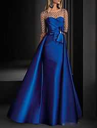cheap -A-Line Illusion Neck Floor Length Satin Vintage / Blue Engagement / Formal Evening Dress with Crystals / Overskirt 2020
