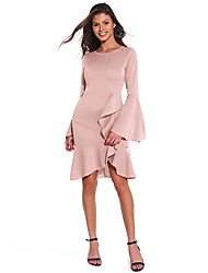 cheap -Women's Daily Wear Basic Sheath Dress - Solid Colored Patchwork Wine Blushing Pink S M L XL