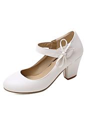 cheap -Women's Heels Chunky Heel Round Toe PU Casual Spring & Summer Black / White / Red