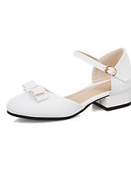 cheap -Women's Heels Low Heel Round Toe Bowknot PU Casual / Sweet Spring & Summer White / Pink / Beige