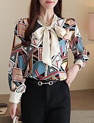 cheap -Women's Daily Weekend Basic Shirt - Geometric Bow / Print Blue
