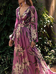cheap -Women's 2020 Maxi Purple Dress Elegant Fall Vacation Beach Swing Floral Print Deep V Floral Style S M