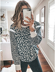 cheap -Women's Daily Weekend Street chic T-shirt - Leopard Navy Blue