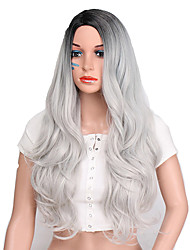 cheap -Synthetic Wig Wavy Body Wave Hathaway Middle Part Wig Long Ombre Grey Synthetic Hair 26inch Women's Cosplay Heat Resistant Synthetic Gray Ombre / Natural Hairline