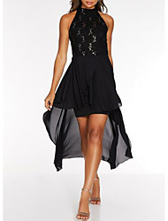 cheap -Sheath / Column High Neck Asymmetrical Chiffon Little Black Dress Cocktail Party / Holiday Dress with Lace Insert 2020