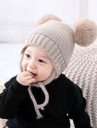 cheap -Toddler Boys' / Girls' Vintage / Active / Sweet Solid Colored Knitting Acrylic / Knitwear Hats & Caps Black / White / Blushing Pink One-Size
