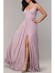 cheap -A-Line Elegant Prom Dress Plunging Neck Sleeveless Sweep / Brush Train Chiffon with Pleats Split Front 2021