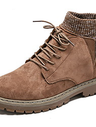 cheap -Men's Comfort Shoes Suede Fall & Winter Boots Booties / Ankle Boots Black / Light Brown / Khaki