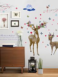 abordables -sk9295 deux sika cerf et papillon chambre salon tv canapé fond sticker mural décoratif