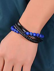 baratos -Homens Azul Pulseiras com Miçangas Enrole Pulseiras Pulseiras Vintage Multi Camadas Tecer Luxo Clássico Na moda Fashion Boho Pedra Pulseira de jóias Marron / Azul / Arco-íris Para Presente Diário