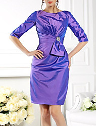 cheap -Sheath / Column Jewel Neck Short / Mini Taffeta Half Sleeve Plus Size Mother of the Bride Dress with Crystal Brooch / Ruching 2020