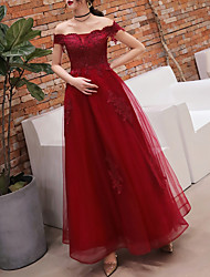 cheap -A-Line Off Shoulder Floor Length Polyester Dress with Crystals / Lace Insert by LAN TING Express