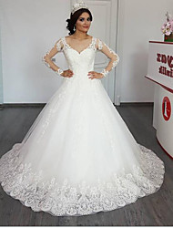 cheap -Ball Gown / A-Line Jewel Neck Chapel Train Lace / Tulle Long Sleeve Illusion Sleeve Wedding Dresses with Appliques 2020
