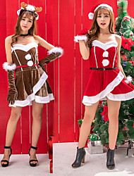 cheap -Mrs.Claus Dress Women's Adults' Costume Party Christmas Christmas Velvet Dress / Gloves / Belt / Hat / Gloves